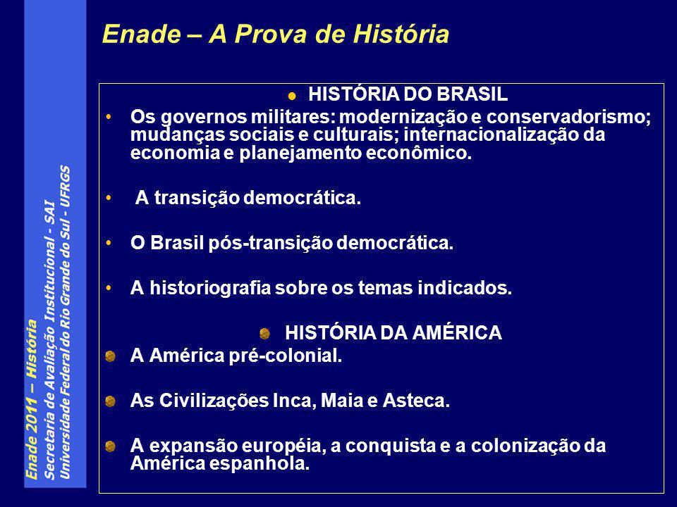 HISTÓRIA DO BRASIL Os governos militares: modernização e conservadorismo; mudanças sociais e culturais; internacionalização da economia e planejamento econômico.