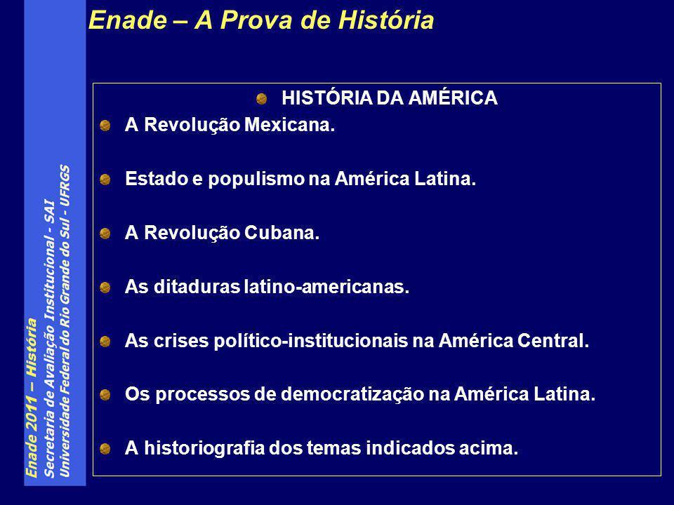 HISTÓRIA DA AMÉRICA A Revolução Mexicana. Estado e populismo na América Latina. A Revolução Cubana. As ditaduras latino-americanas. As crises político