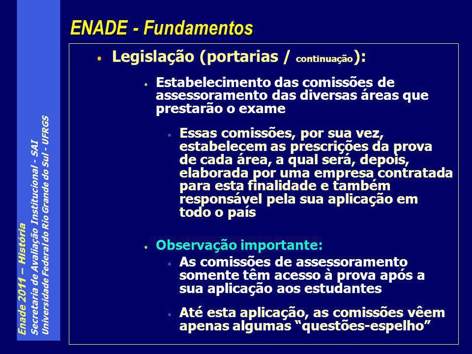 Legislação (portarias / continuação ): Estabelecimento das comissões de assessoramento das diversas áreas que prestarão o exame Essas comissões, por s