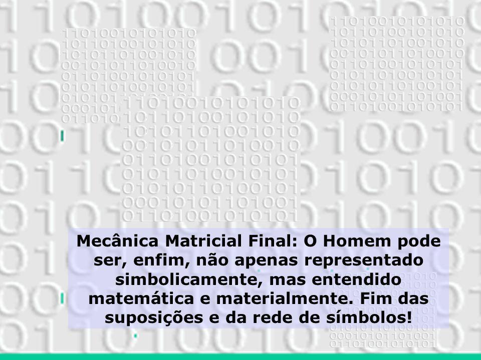 Mecânica Matricial Final: O Homem pode ser, enfim, não apenas representado simbolicamente, mas entendido matemática e materialmente. Fim das suposiçõe