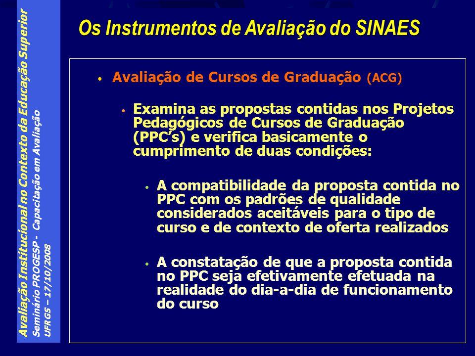 Avaliação Institucional no Contexto da Educação Superior Seminário PROGESP - Capacitação em Avaliação UFRGS – 17/10/2008 Avaliação de Cursos de Gradua