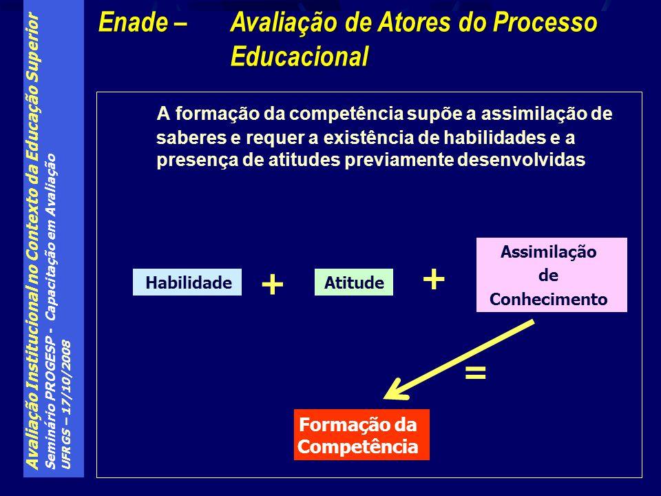 Avaliação Institucional no Contexto da Educação Superior Seminário PROGESP - Capacitação em Avaliação UFRGS – 17/10/2008 A formação da competência sup