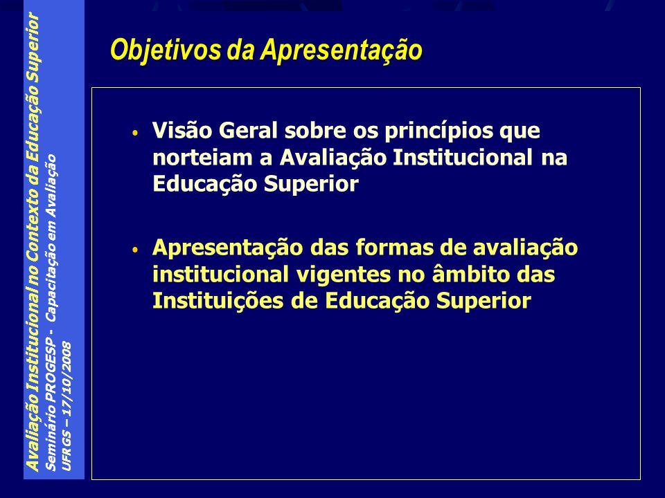Avaliação Institucional no Contexto da Educação Superior Seminário PROGESP - Capacitação em Avaliação UFRGS – 17/10/2008 O MEC disponibiliza 3 índices para acompanhamento da Qualidade da Educação Superior pela sociedade: Graduação: Conceito Preliminar de Curso de graduação (CPC), divulgado pelo Inep, e composto por 3 parcelas: Conceito-geral do Enade Conceito-IDD do Enade Insumos ofertados pelo curso Pós-Graduação: Conceito dos Programas de Pós- Graduação (divulgado pela CAPES).