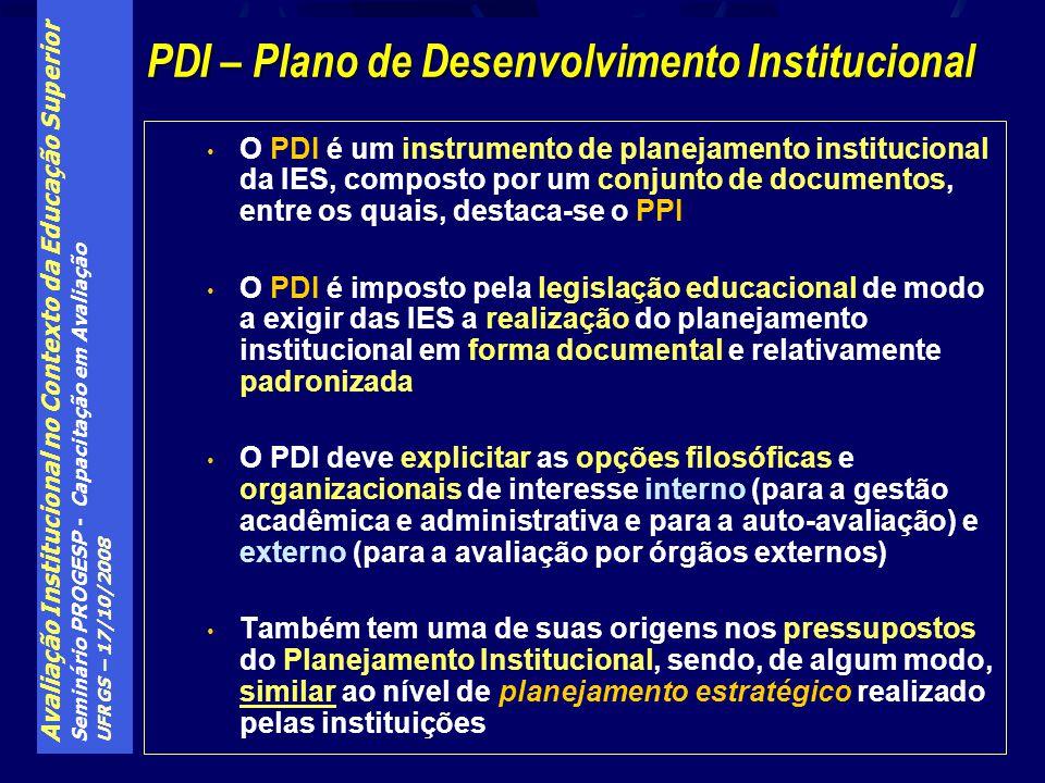 Avaliação Institucional no Contexto da Educação Superior Seminário PROGESP - Capacitação em Avaliação UFRGS – 17/10/2008 O PDI é um instrumento de pla