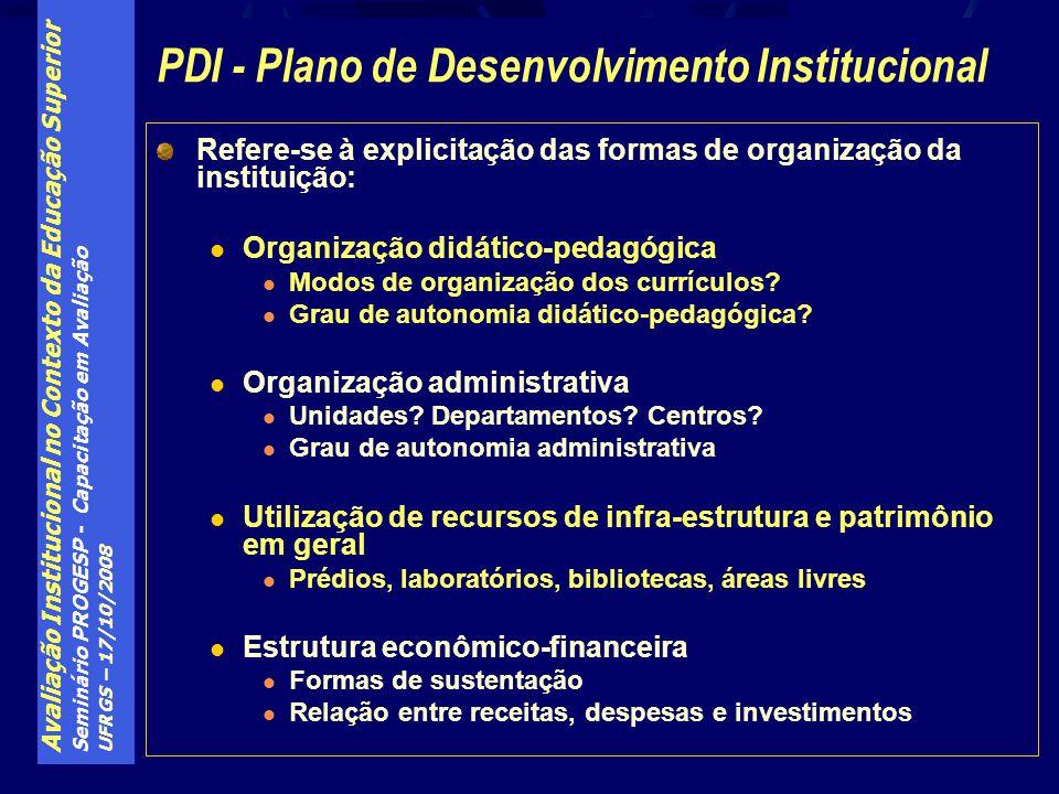 Avaliação Institucional no Contexto da Educação Superior Seminário PROGESP - Capacitação em Avaliação UFRGS – 17/10/2008 Refere-se à explicitação das