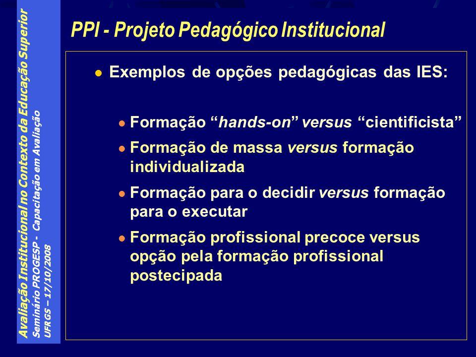 Avaliação Institucional no Contexto da Educação Superior Seminário PROGESP - Capacitação em Avaliação UFRGS – 17/10/2008 Exemplos de opções pedagógica