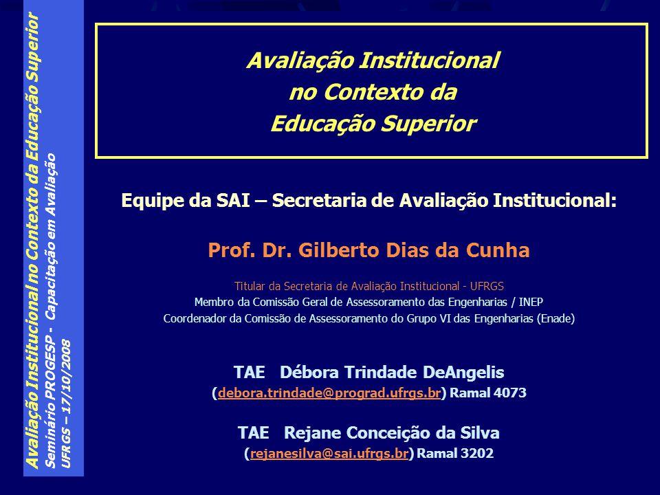 Avaliação Institucional no Contexto da Educação Superior Seminário PROGESP - Capacitação em Avaliação UFRGS – 17/10/2008 Avaliação Institucional no Co