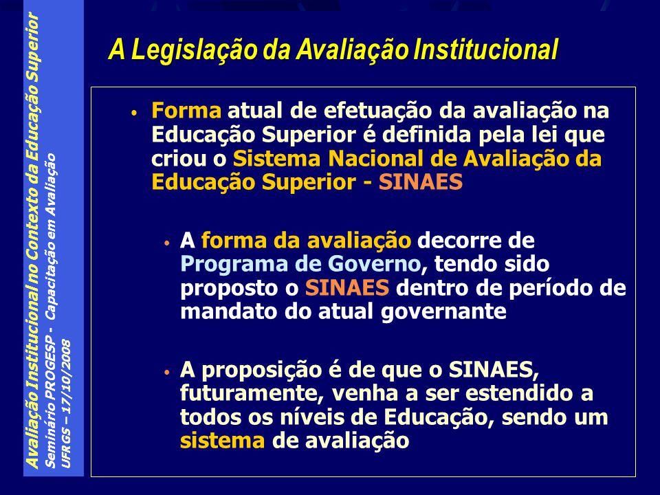 Avaliação Institucional no Contexto da Educação Superior Seminário PROGESP - Capacitação em Avaliação UFRGS – 17/10/2008 Foco no subsídio à captação de informações para geração de políticas educacionais.
