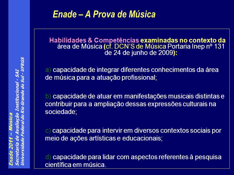 Habilidades & Competências examinadas no contexto da área de Música (cf.