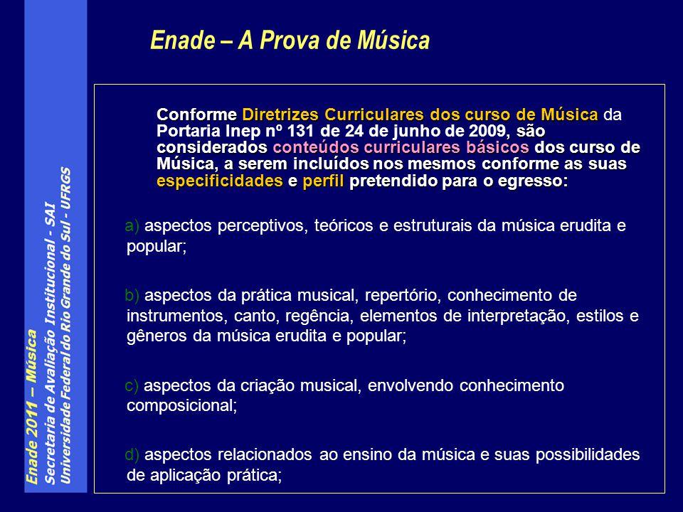 Conforme Diretrizes Curriculares dos curso de Música, são considerados conteúdos curriculares básicos dos curso de Música, a serem incluídos nos mesmos conforme as suas especificidades e perfil pretendido para o egresso: Conforme Diretrizes Curriculares dos curso de Música da Portaria Inep nº 131 de 24 de junho de 2009, são considerados conteúdos curriculares básicos dos curso de Música, a serem incluídos nos mesmos conforme as suas especificidades e perfil pretendido para o egresso: a) aspectos perceptivos, teóricos e estruturais da música erudita e popular; b) aspectos da prática musical, repertório, conhecimento de instrumentos, canto, regência, elementos de interpretação, estilos e gêneros da música erudita e popular; c) aspectos da criação musical, envolvendo conhecimento composicional; d) aspectos relacionados ao ensino da música e suas possibilidades de aplicação prática; Enade – A Prova de Música