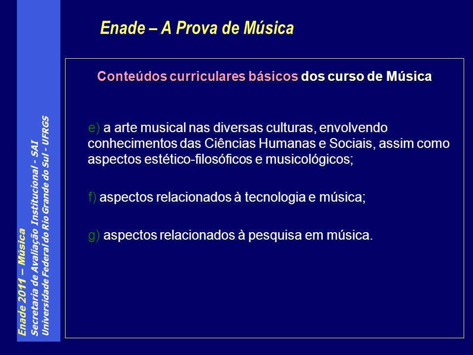 Conteúdos curriculares básicos dos curso de Música e) a arte musical nas diversas culturas, envolvendo conhecimentos das Ciências Humanas e Sociais, assim como aspectos estético-filosóficos e musicológicos; f) aspectos relacionados à tecnologia e música; g) aspectos relacionados à pesquisa em música.