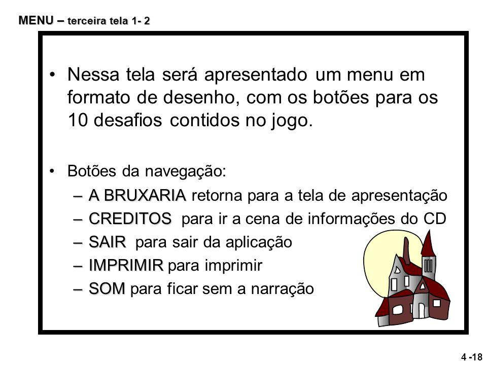 Botões da navegação: –A BRUXARIA –A BRUXARIA retorna para a tela de apresentação –CREDITOS –CREDITOS para ir a cena de informações do CD –SAIR –SAIR p