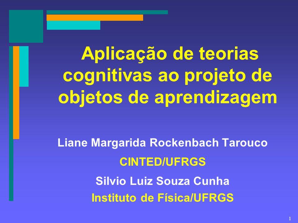 1 Aplicação de teorias cognitivas ao projeto de objetos de aprendizagem Liane Margarida Rockenbach Tarouco CINTED/UFRGS Silvio Luiz Souza Cunha Instit