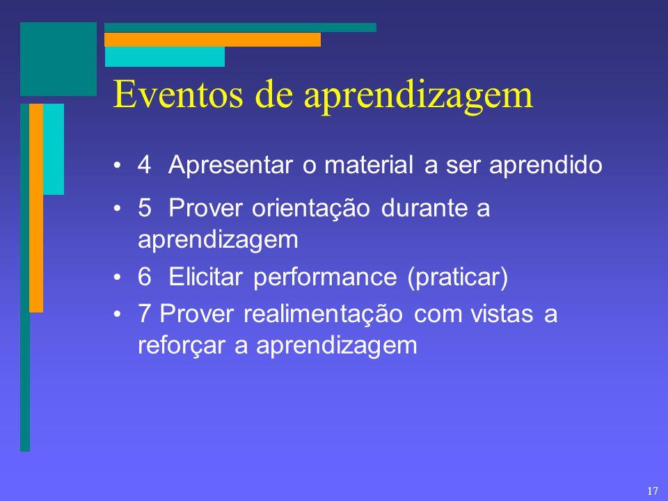 17 Eventos de aprendizagem 4Apresentar o material a ser aprendido 5Prover orientação durante a aprendizagem 6Elicitar performance (praticar) 7 Prover