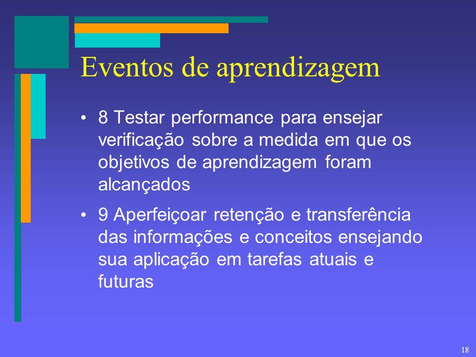 18 Eventos de aprendizagem 8 Testar performance para ensejar verificação sobre a medida em que os objetivos de aprendizagem foram alcançados 9 Aperfei
