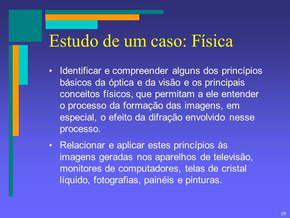 19 Estudo de um caso: Física Identificar e compreender alguns dos princípios básicos da óptica e da visão e os principais conceitos físicos, que permi