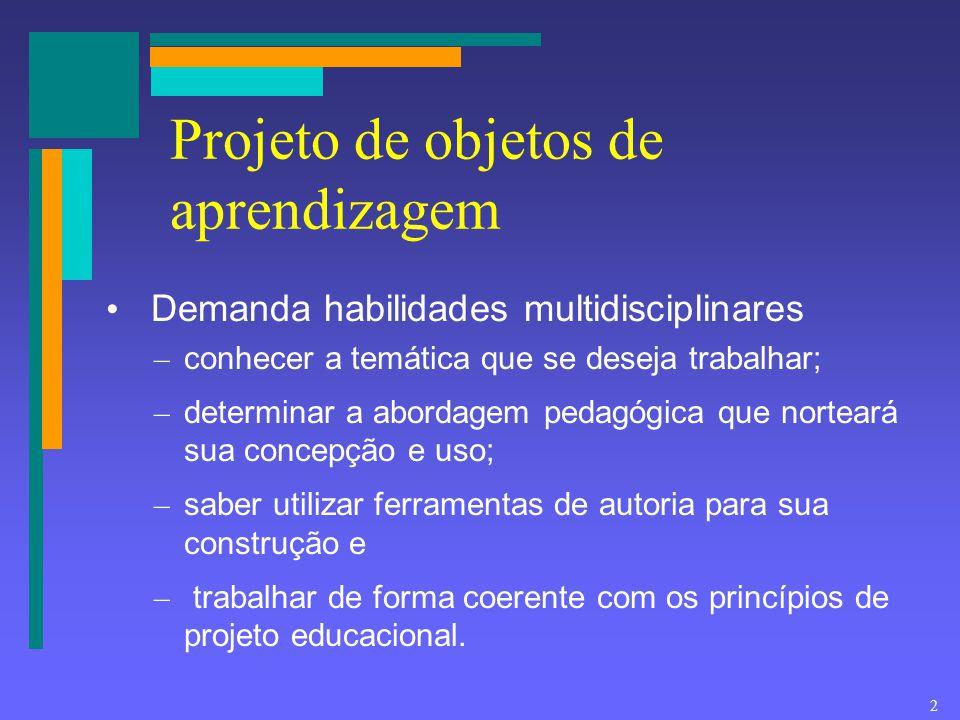 2 Projeto de objetos de aprendizagem Demanda habilidades multidisciplinares – conhecer a temática que se deseja trabalhar; – determinar a abordagem pe