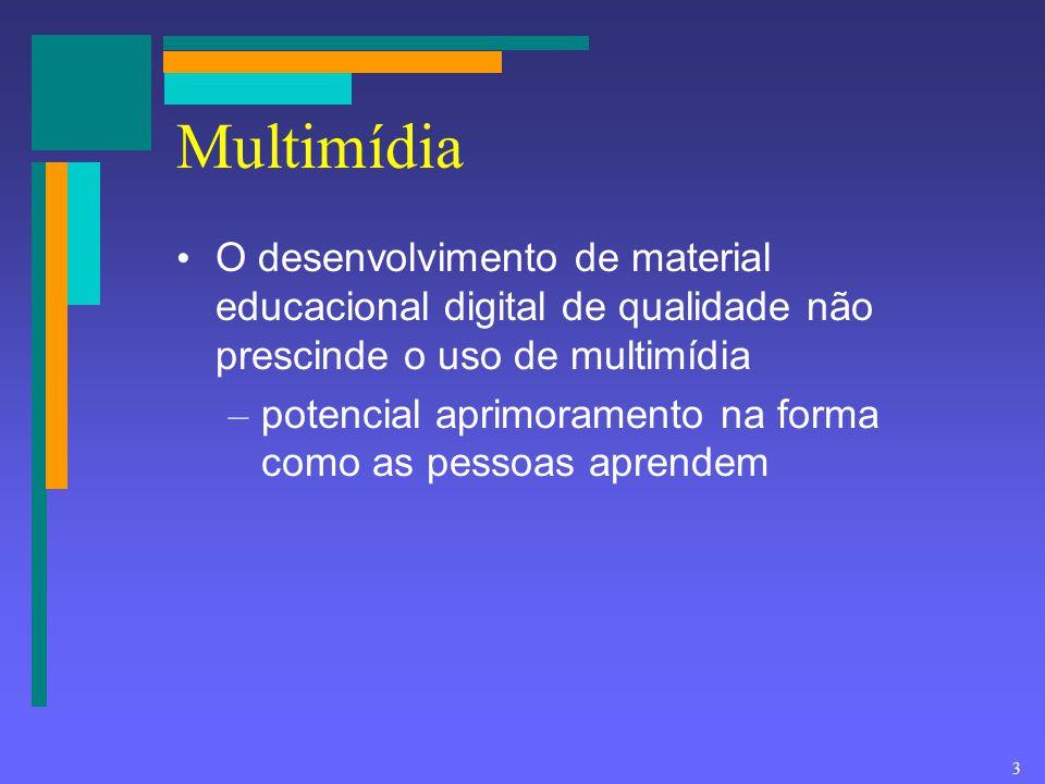 3 Multimídia O desenvolvimento de material educacional digital de qualidade não prescinde o uso de multimídia – potencial aprimoramento na forma como
