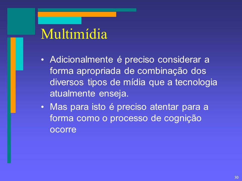 30 Multimídia Adicionalmente é preciso considerar a forma apropriada de combinação dos diversos tipos de mídia que a tecnologia atualmente enseja. Mas
