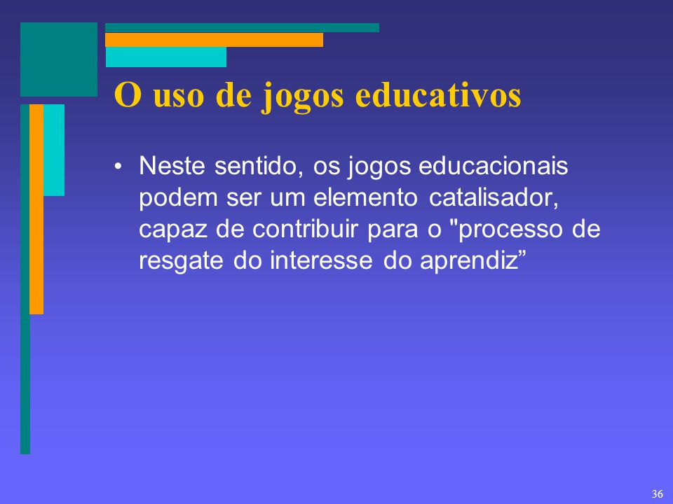 36 O uso de jogos educativos Neste sentido, os jogos educacionais podem ser um elemento catalisador, capaz de contribuir para o