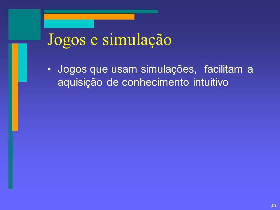40 Jogos e simulação Jogos que usam simulações, facilitam a aquisição de conhecimento intuitivo