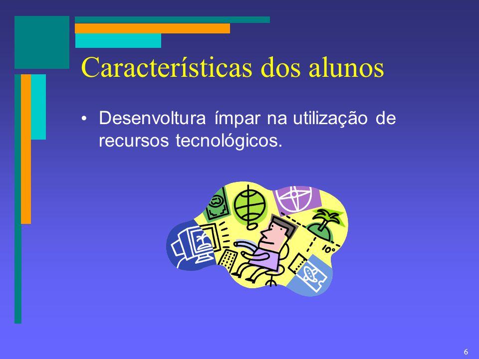 6 Características dos alunos Desenvoltura ímpar na utilização de recursos tecnológicos.