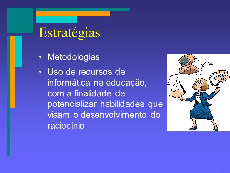 7 Estratégias Metodologias Uso de recursos de informática na educação, com a finalidade de potencializar habilidades que visam o desenvolvimento do ra