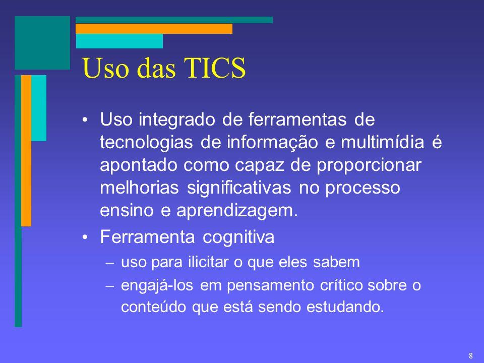 8 Uso das TICS Uso integrado de ferramentas de tecnologias de informação e multimídia é apontado como capaz de proporcionar melhorias significativas n