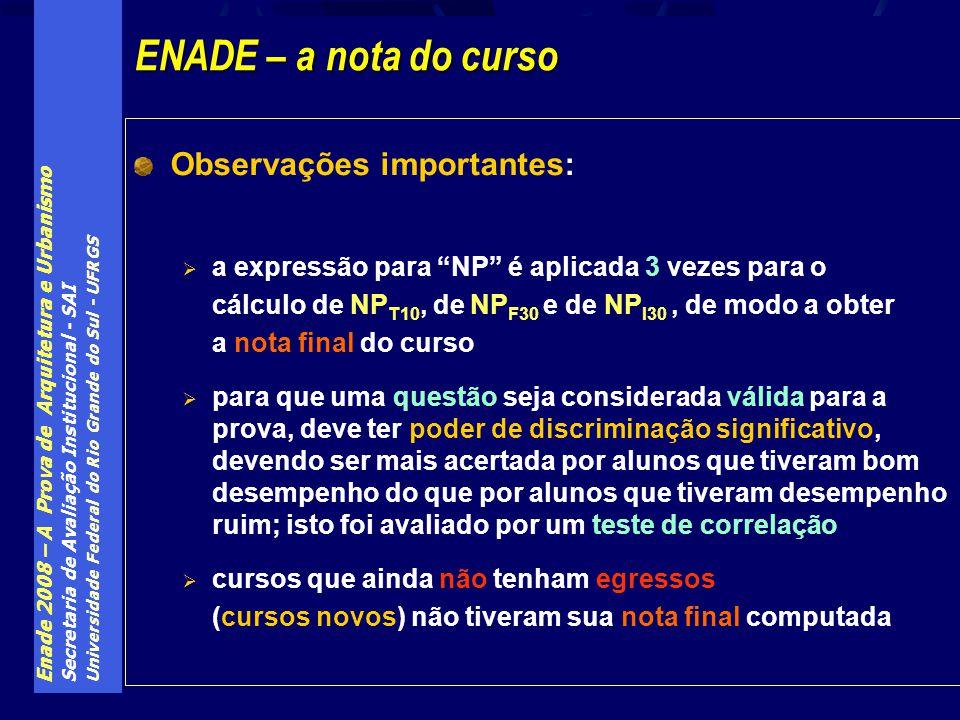 Enade 2008 – A Prova de Arquitetura e Urbanismo Secretaria de Avaliação Institucional - SAI Universidade Federal do Rio Grande do Sul - UFRGS Observaç