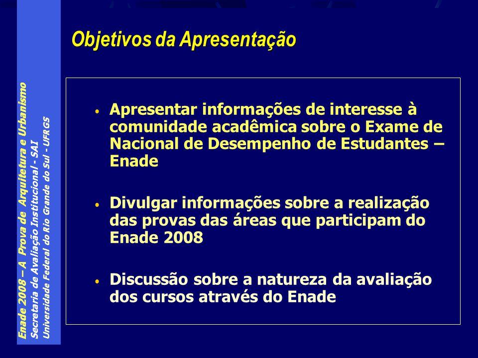 Enade 2008 – A Prova de Arquitetura e Urbanismo Secretaria de Avaliação Institucional - SAI Universidade Federal do Rio Grande do Sul - UFRGS Apresent