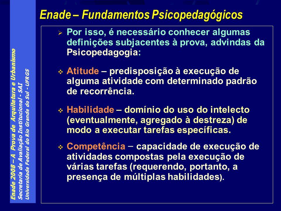 Enade 2008 – A Prova de Arquitetura e Urbanismo Secretaria de Avaliação Institucional - SAI Universidade Federal do Rio Grande do Sul - UFRGS Por isso