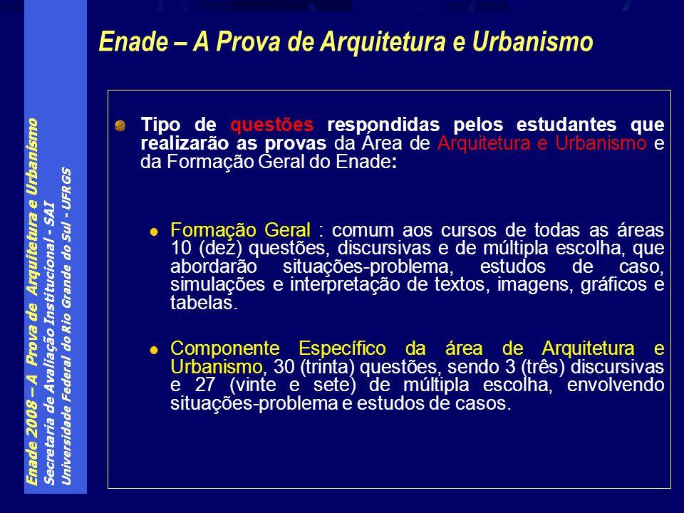 Enade 2008 – A Prova de Arquitetura e Urbanismo Secretaria de Avaliação Institucional - SAI Universidade Federal do Rio Grande do Sul - UFRGS Tipo de