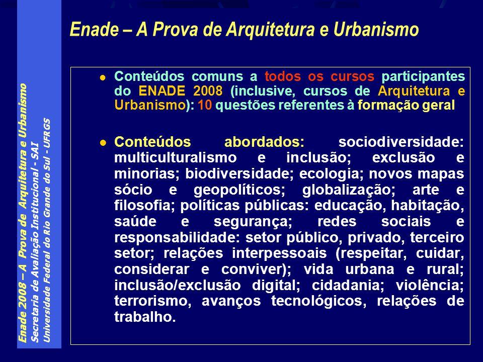Enade 2008 – A Prova de Arquitetura e Urbanismo Secretaria de Avaliação Institucional - SAI Universidade Federal do Rio Grande do Sul - UFRGS Conteúdo