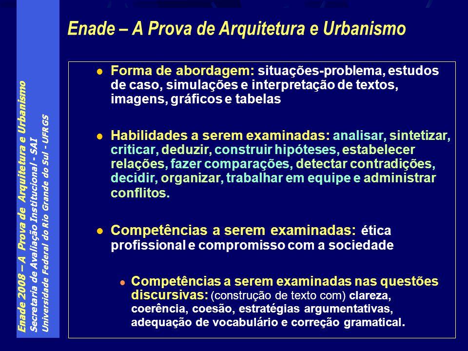 Enade 2008 – A Prova de Arquitetura e Urbanismo Secretaria de Avaliação Institucional - SAI Universidade Federal do Rio Grande do Sul - UFRGS Forma de