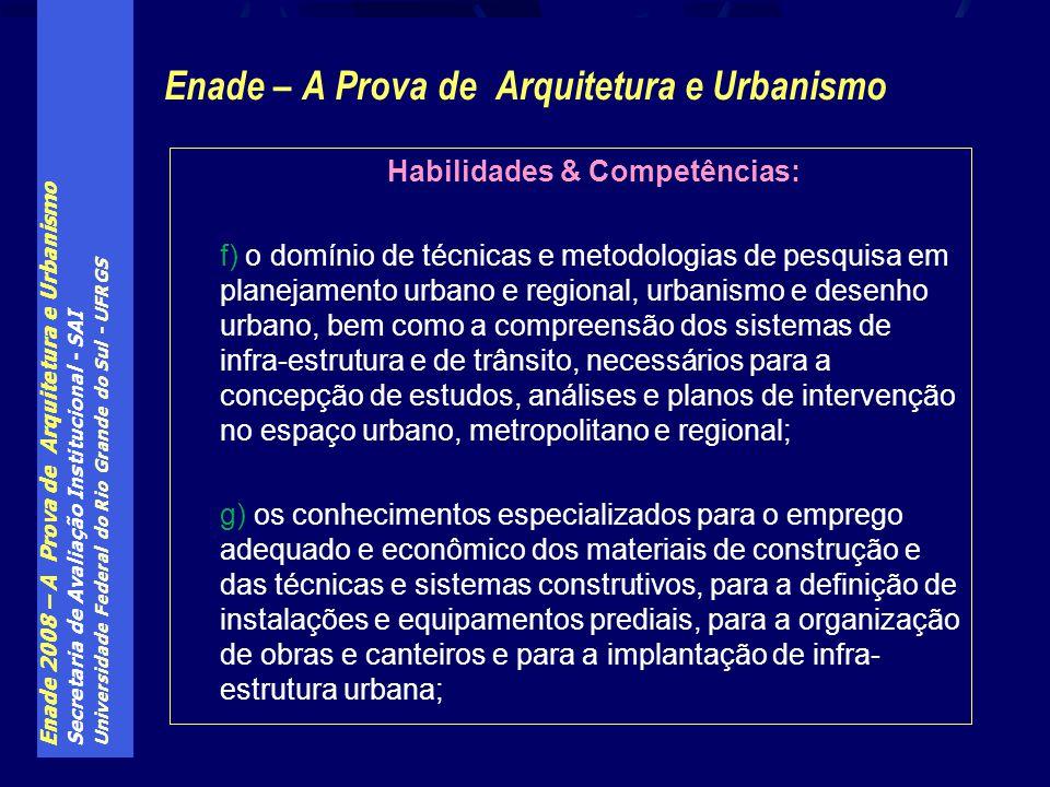 Enade 2008 – A Prova de Arquitetura e Urbanismo Secretaria de Avaliação Institucional - SAI Universidade Federal do Rio Grande do Sul - UFRGS Enade –