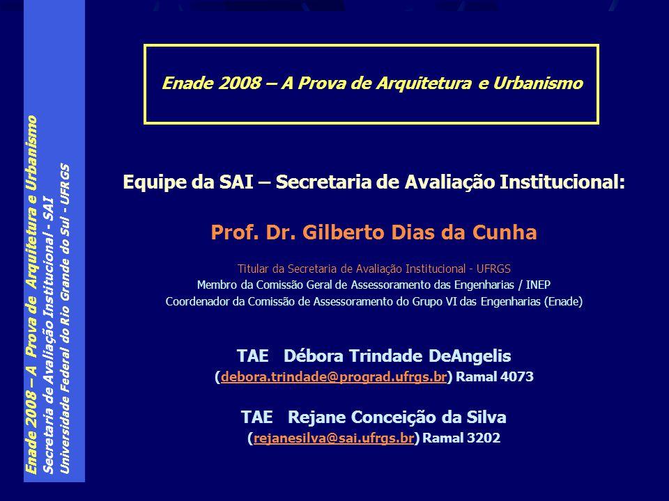 Enade 2008 – A Prova de Arquitetura e Urbanismo Secretaria de Avaliação Institucional - SAI Universidade Federal do Rio Grande do Sul - UFRGS Equipe d