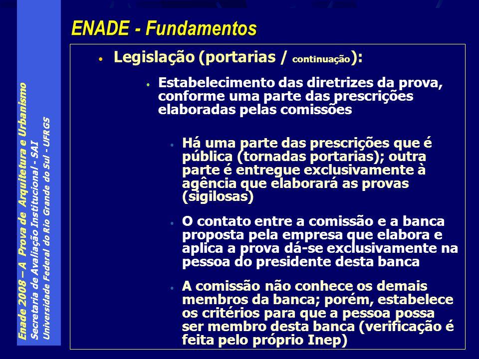 Enade 2008 – A Prova de Arquitetura e Urbanismo Secretaria de Avaliação Institucional - SAI Universidade Federal do Rio Grande do Sul - UFRGS Legislaç