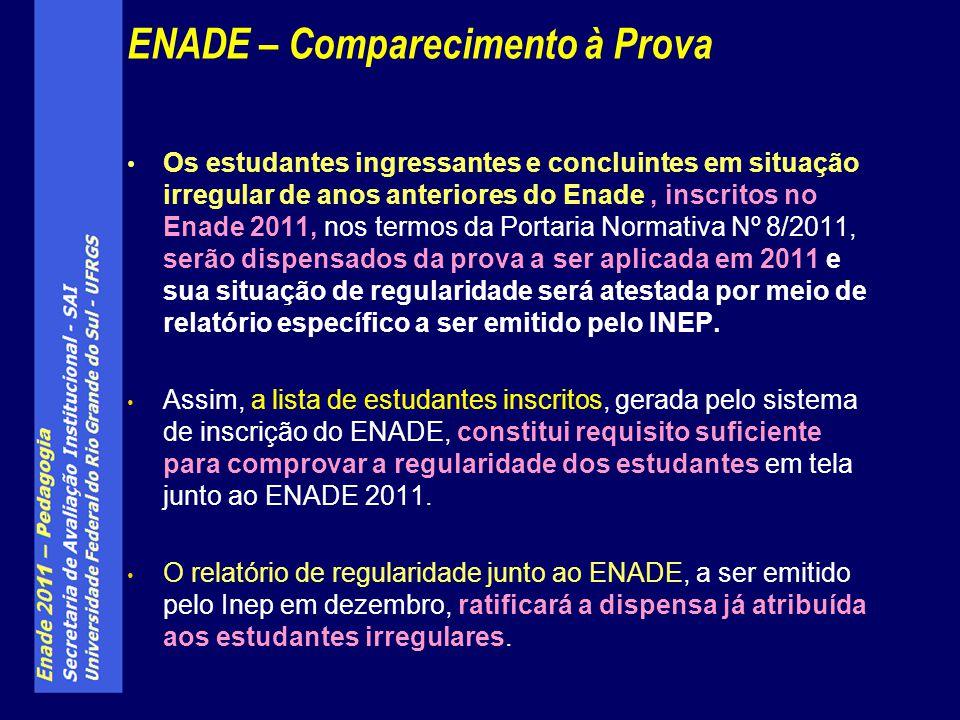 Os estudantes ingressantes e concluintes em situação irregular de anos anteriores do Enade, inscritos no Enade 2011, nos termos da Portaria Normativa