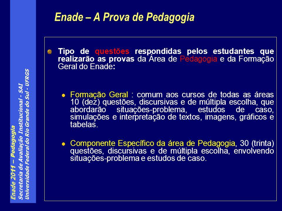 Tipo de questões respondidas pelos estudantes que realizarão as provas da Área de Pedagogia e da Formação Geral do Enade: Formação Geral : comum aos c