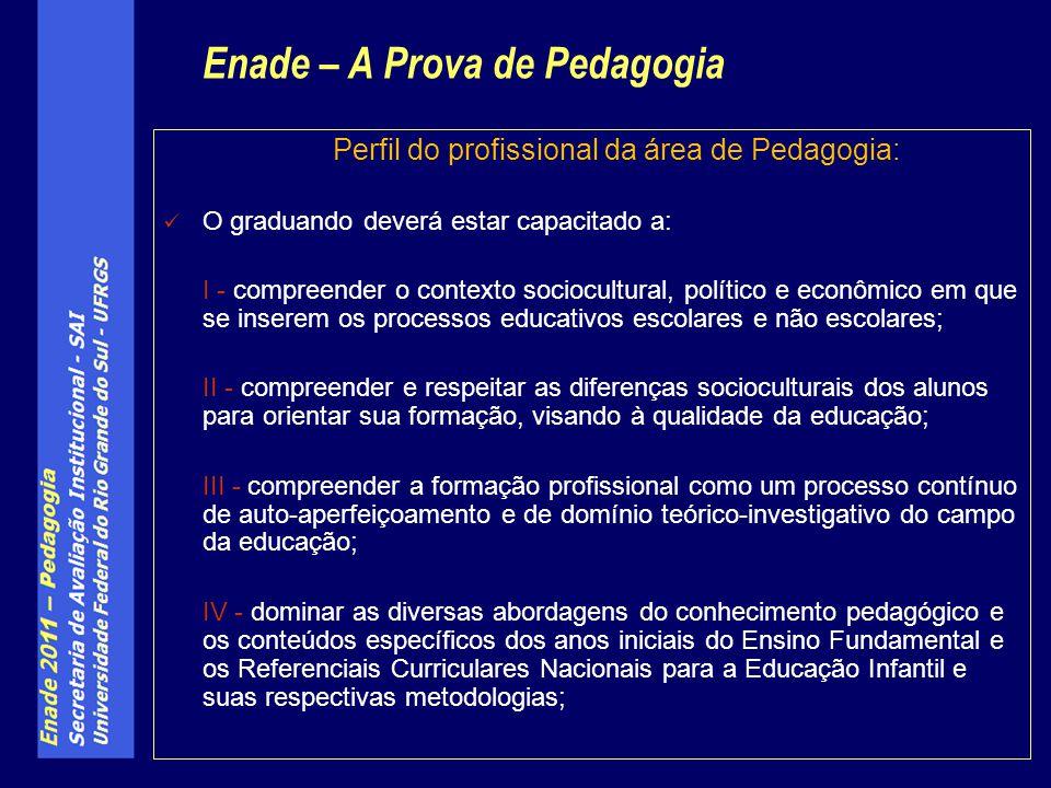 Perfil do profissional da área de Pedagogia: O graduando deverá estar capacitado a: I - compreender o contexto sociocultural, político e econômico em