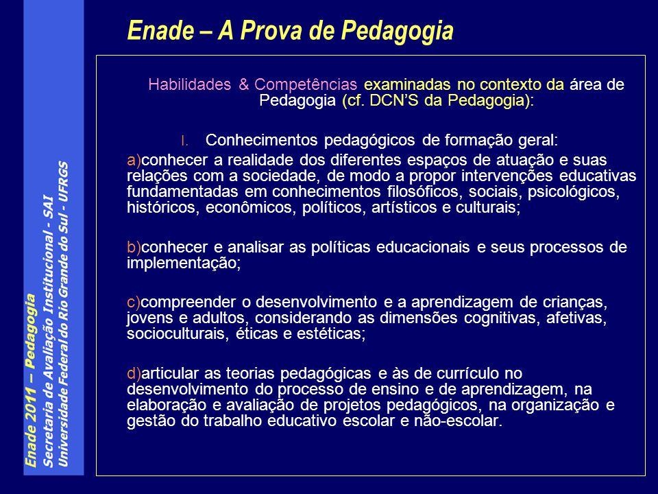 Habilidades & Competências examinadas no contexto da área de Pedagogia (cf. DCNS da Pedagogia): I. Conhecimentos pedagógicos de formação geral: a)conh