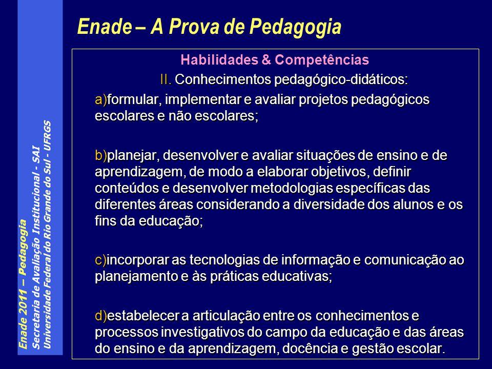 Habilidades & Competências II. Conhecimentos pedagógico-didáticos: a)formular, implementar e avaliar projetos pedagógicos escolares e não escolares; b
