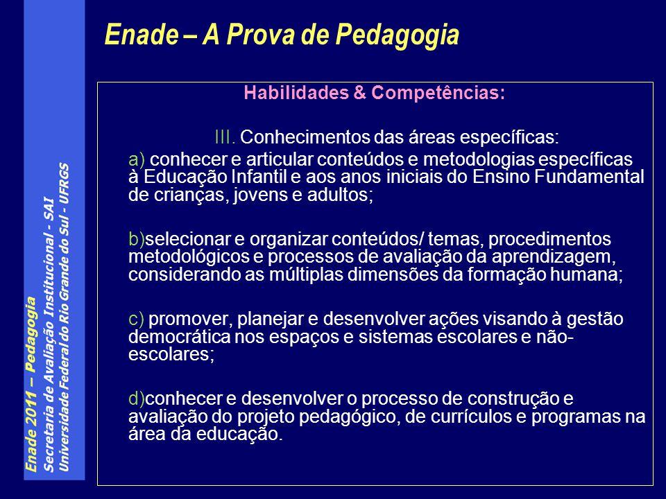 Habilidades & Competências: III. Conhecimentos das áreas específicas: a) conhecer e articular conteúdos e metodologias específicas à Educação Infantil