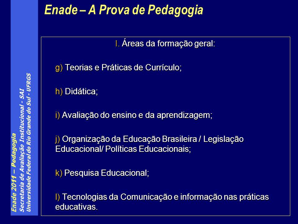 I. Áreas da formação geral: g) Teorias e Práticas de Currículo; h) Didática; i) Avaliação do ensino e da aprendizagem; j) Organização da Educação Bras
