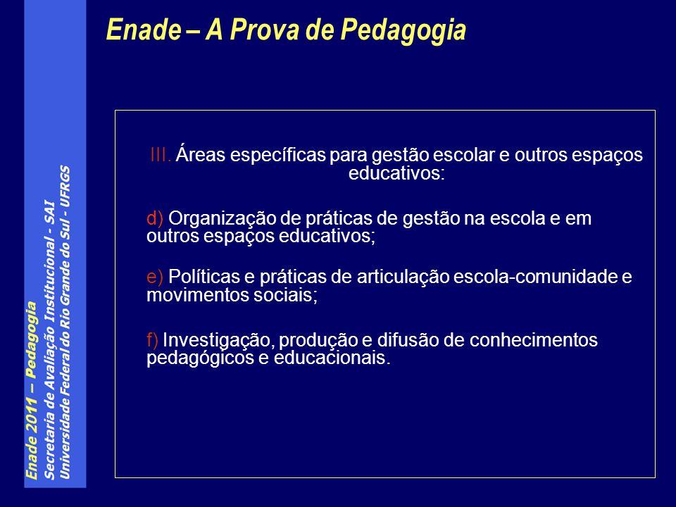 III. Áreas específicas para gestão escolar e outros espaços educativos: d) Organização de práticas de gestão na escola e em outros espaços educativos;