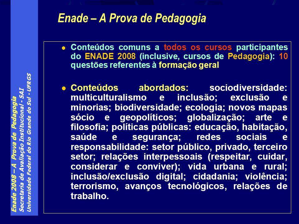 Enade 2008 – A Prova de Pedagogia Secretaria de Avaliação Institucional - SAI Universidade Federal do Rio Grande do Sul - UFRGS Conteúdos comuns a tod