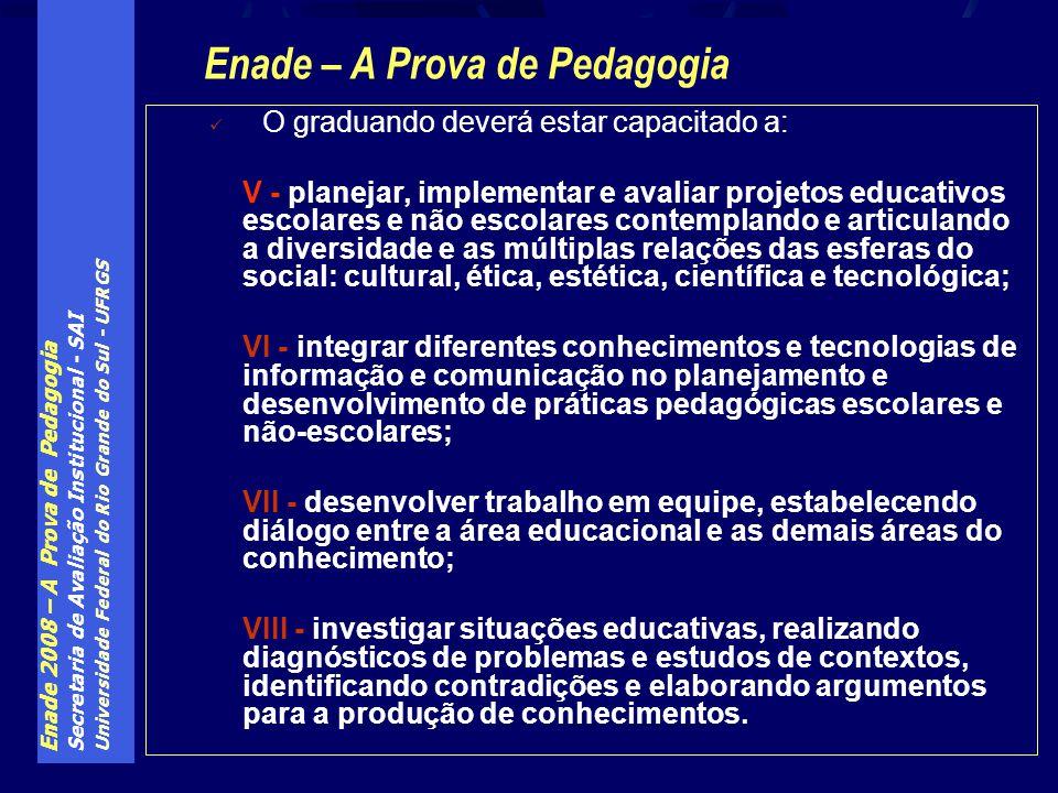Enade 2008 – A Prova de Pedagogia Secretaria de Avaliação Institucional - SAI Universidade Federal do Rio Grande do Sul - UFRGS O graduando deverá est