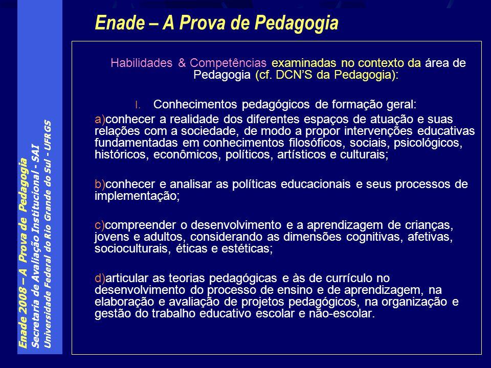 Enade 2008 – A Prova de Pedagogia Secretaria de Avaliação Institucional - SAI Universidade Federal do Rio Grande do Sul - UFRGS Habilidades & Competên