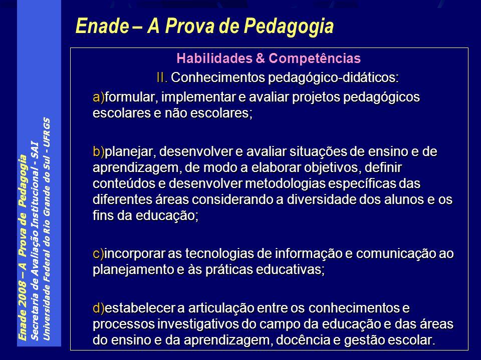Enade 2008 – A Prova de Pedagogia Secretaria de Avaliação Institucional - SAI Universidade Federal do Rio Grande do Sul - UFRGS Enade – A Prova de Ped