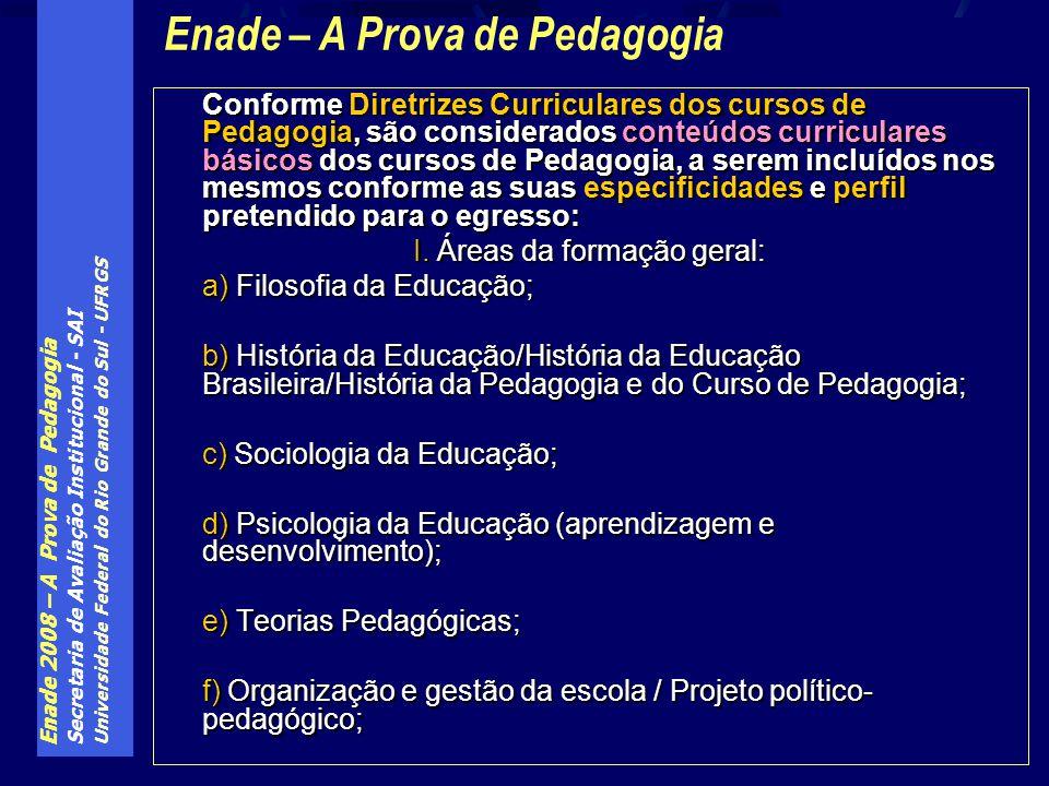 Enade 2008 – A Prova de Pedagogia Secretaria de Avaliação Institucional - SAI Universidade Federal do Rio Grande do Sul - UFRGS Conforme Diretrizes Cu